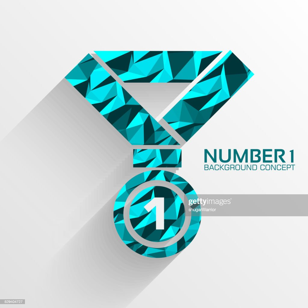 Polygonal medal number one vector background concept