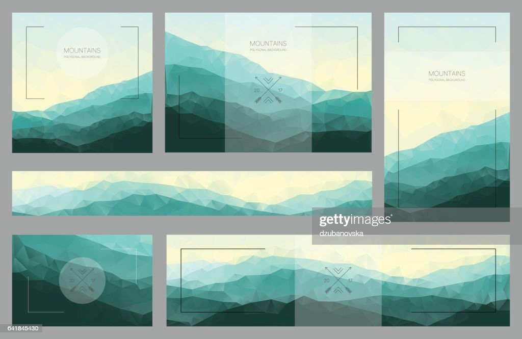 Polygonal mountain backgrounds in the set of cards and banners