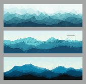 Polygonal mountain ridges. Set of outdoor vector illustrations.