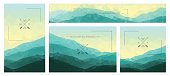 Polygonal mountains backgrounds. Set of stylish nature landscapes.