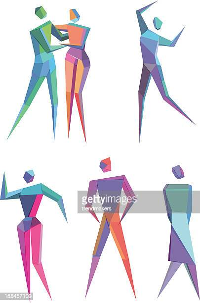 polygonal people - actor stock illustrations