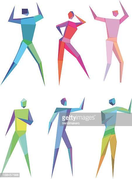 illustrations, cliparts, dessins animés et icônes de polygonal personnes - applauding