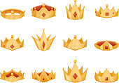 Polygonal royal crown head power 3d cartoon icons set isolated vector illustration