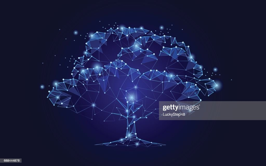 Polygonal tree on dark blue sky background. Abstract Earth eco globe concept. Connected dot line point art life root vector illustration