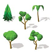 Polygonal trees set. Isolated on white background. 3d Vector illustration.