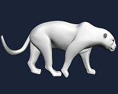 Polygonal white leopard. 3D. Leopard slowly goes