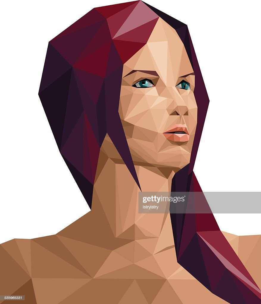 Polygonal woman : Vector Art