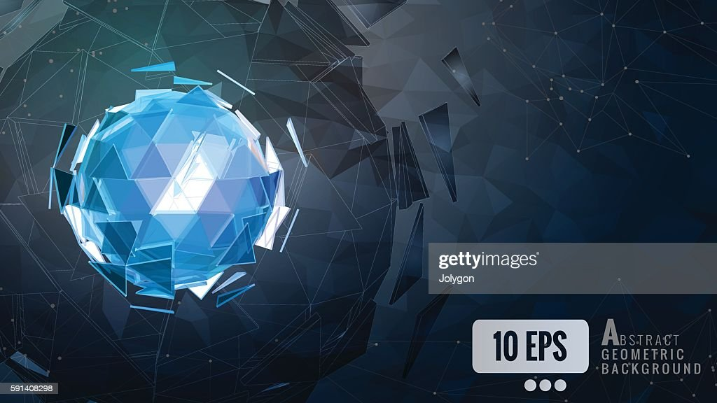 Polygonal_abstract_triangle_sphere_combination_glow_on_dark_back