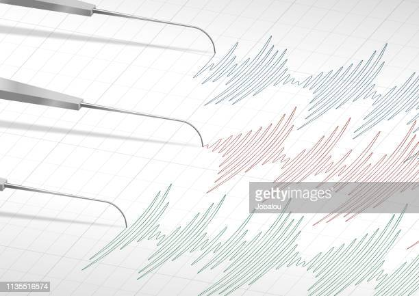 polygraph lie detector test vector close-up - earthquake stock illustrations