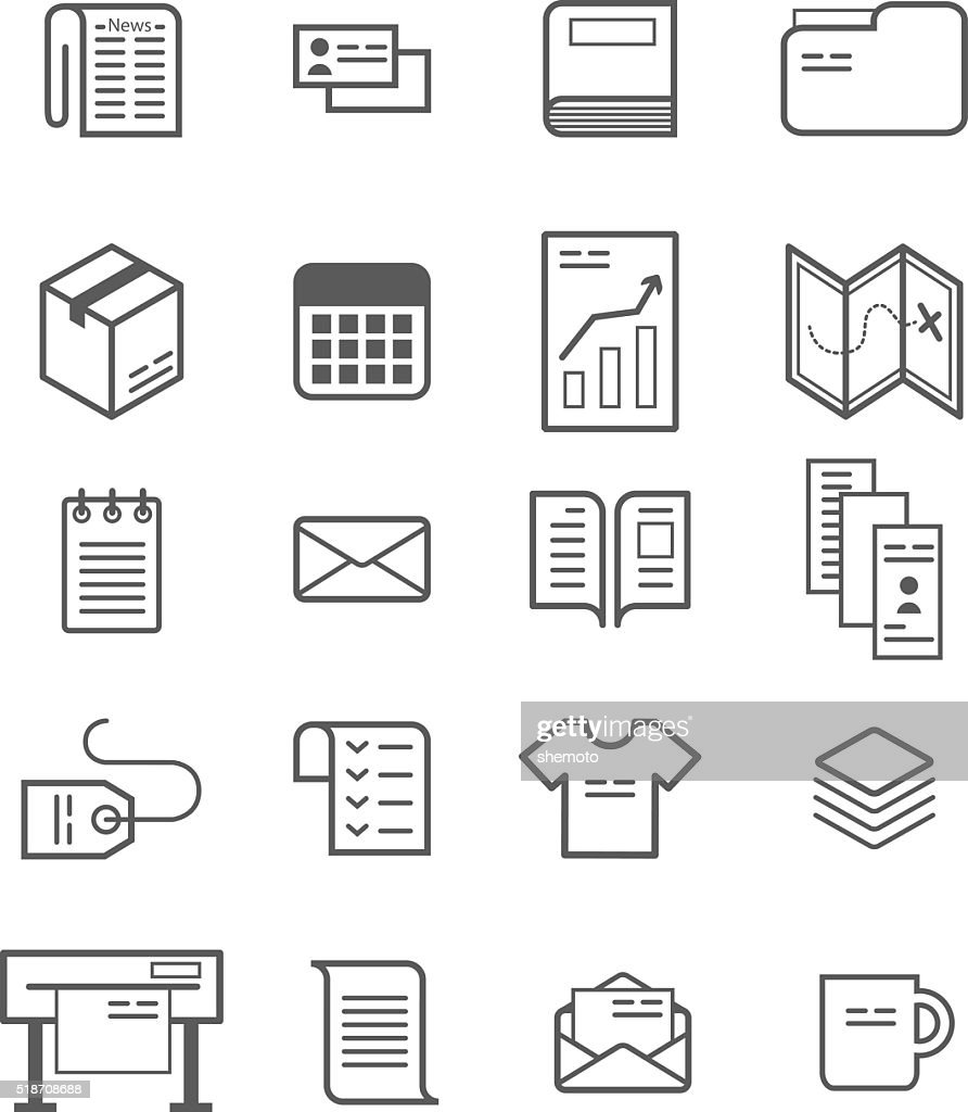 Polygraphy production icon set