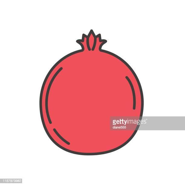 illustrations, cliparts, dessins animés et icônes de icône mignonne de fruit de grenade - fruit exotique