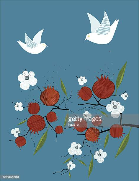 pomegranate, dove, flowers on blue background - passover stock illustrations
