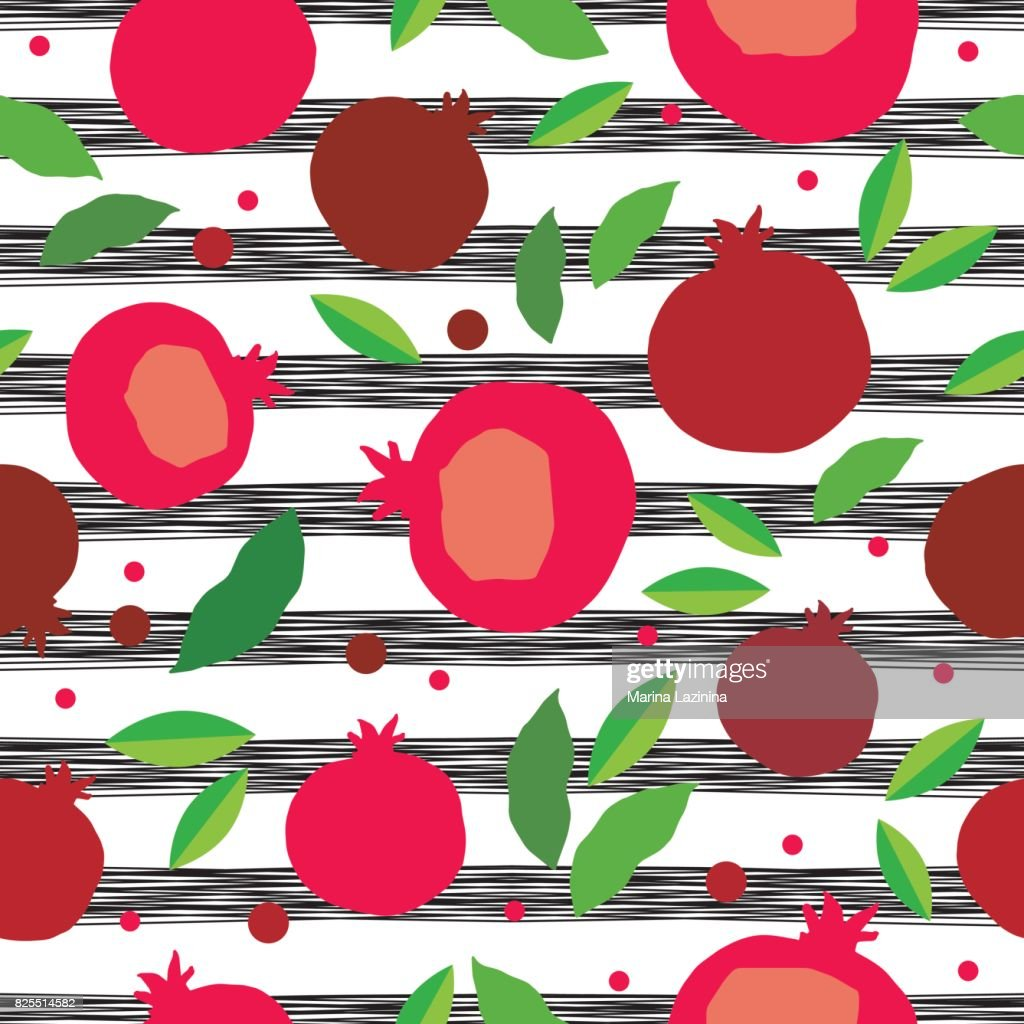 Pomegranate seamless pattern. Garnet fruit endless background. Textile rapport.
