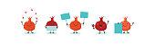 Pomegranate, symbols of Jewish holiday Rosh Hashana, New Year. Rosh Hashanah Jewish holiday banner design with funny cartoon characters. Vector illustration