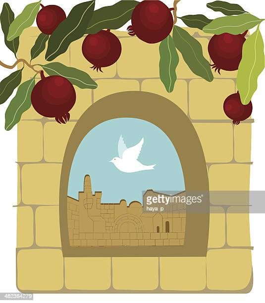 pomegranates, dove, old stone wall,  jerusalem - passover stock illustrations