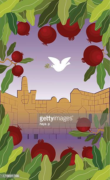 Pomegranates Frame and Dove Flying Above Jerusalem