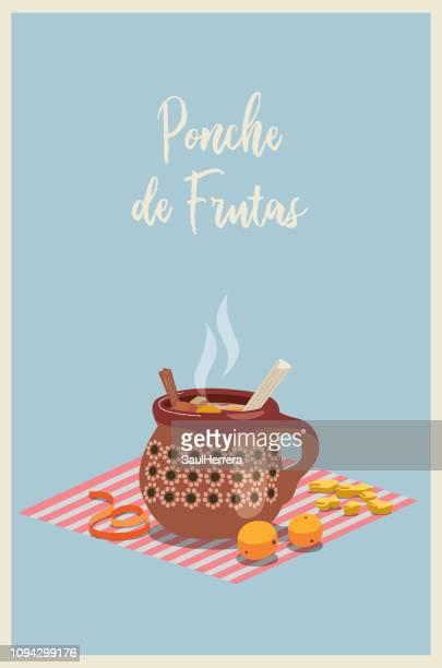ilustrações, clipart, desenhos animados e ícones de ponche de frutas mexicano - tequila bebida destilada