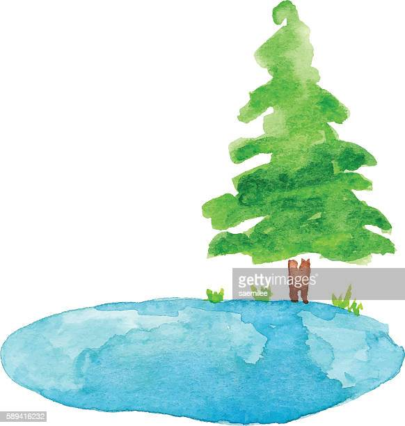 Pond and Tree Watercolor