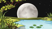 Pond under the fullmoon