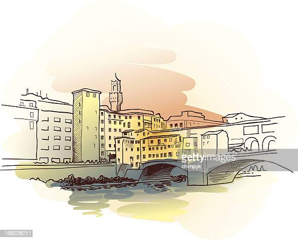 ponte vecchio watercolor - tuscany stock illustrations, clip art, cartoons, & icons