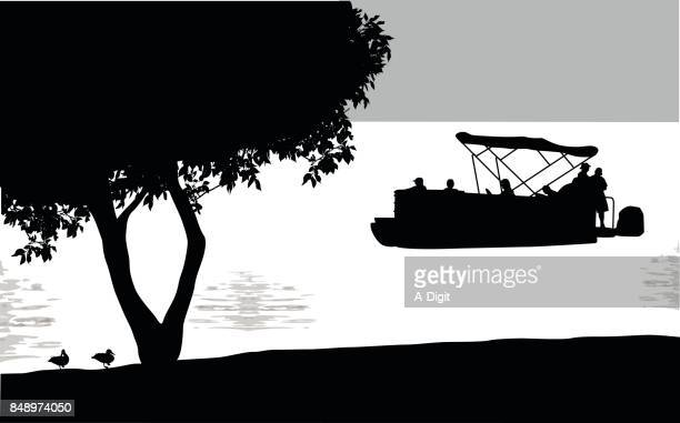 pontoon boat water front park - lakeshore stock illustrations