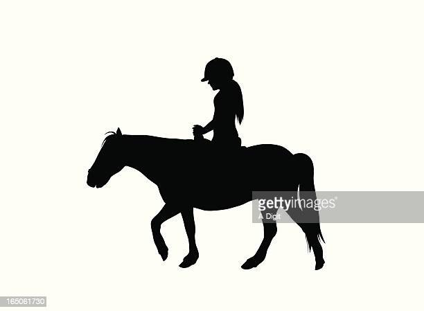 pony ride vector silhouette - pony stock illustrations, clip art, cartoons, & icons