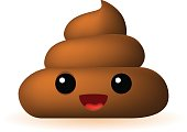 Poo Emoticon on White Background