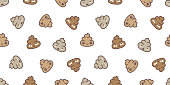 Poo Seamless pattern Cartoon isolated doodle illustration wallpaper