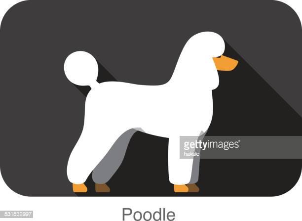 Poodle dog body flat icon design