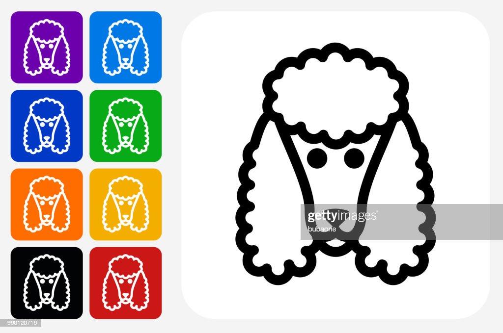 Pudel Hund Symbol Square Buttonset : Stock-Illustration