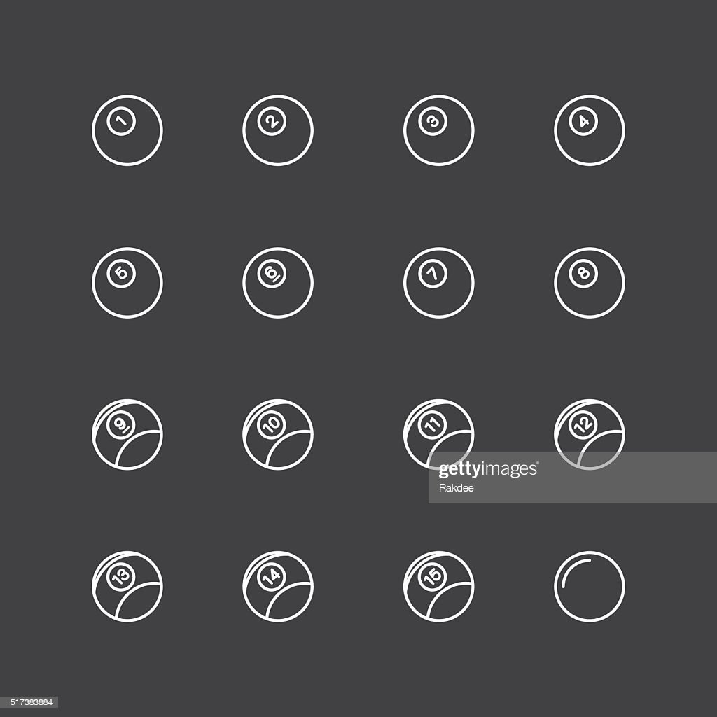 Pool Balls Icons - White Line Series