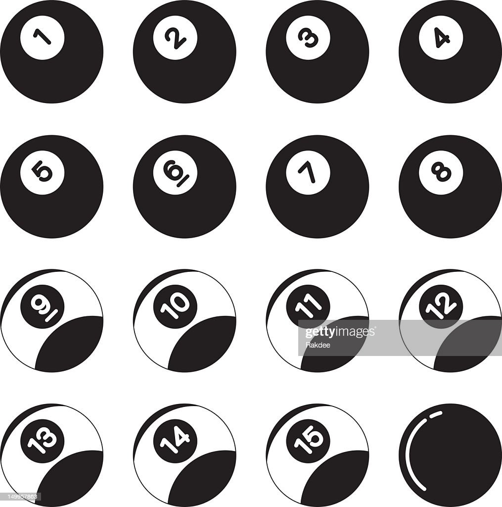 Pool Balls Silhouette Icons : Vector Art