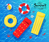 Pool inflatable toys on water