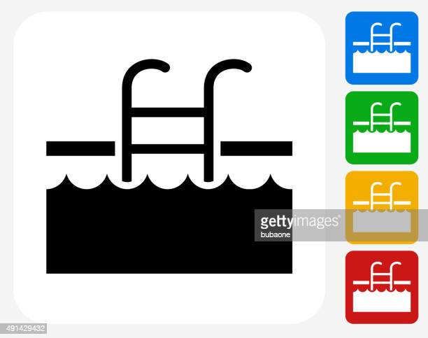 pool ladder icon flat graphic design - safety american football player stock illustrations, clip art, cartoons, & icons