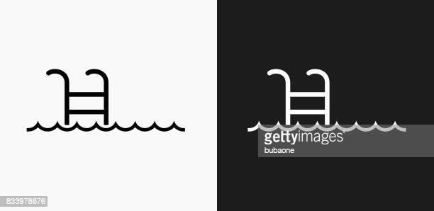 Zwembad Ladder pictogram op zwart-wit Vector achtergronden