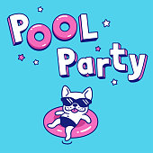 Pool party cartoon illustration