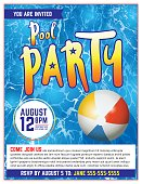 Pool Party Flyer Invitation Illustration