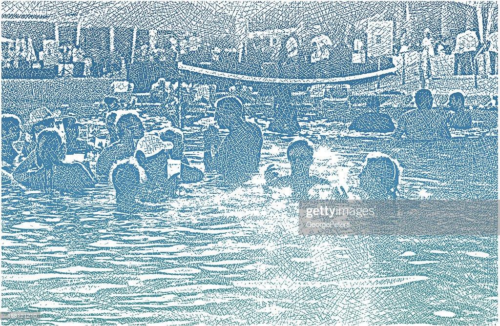 Festa in piscina e Divertimento : Arte vettoriale