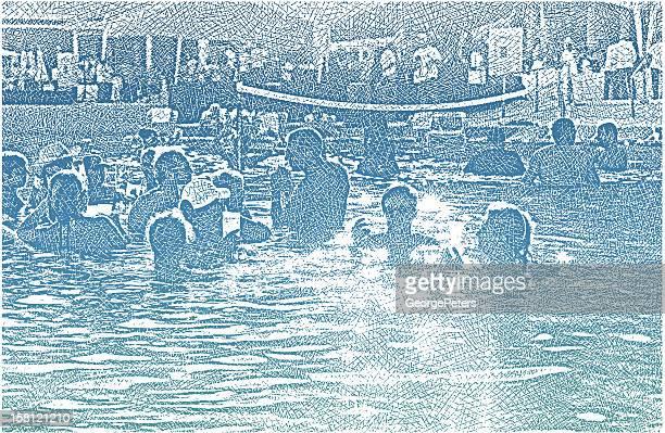 ilustraciones, imágenes clip art, dibujos animados e iconos de stock de parte de la diversión en la piscina - pool party