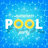 Pool party. Illustration of Summer pool party invitation, banner. Shiny pool water and typography with rubber rings