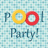 Pool party invitation as two rubber rings on pool tiles background