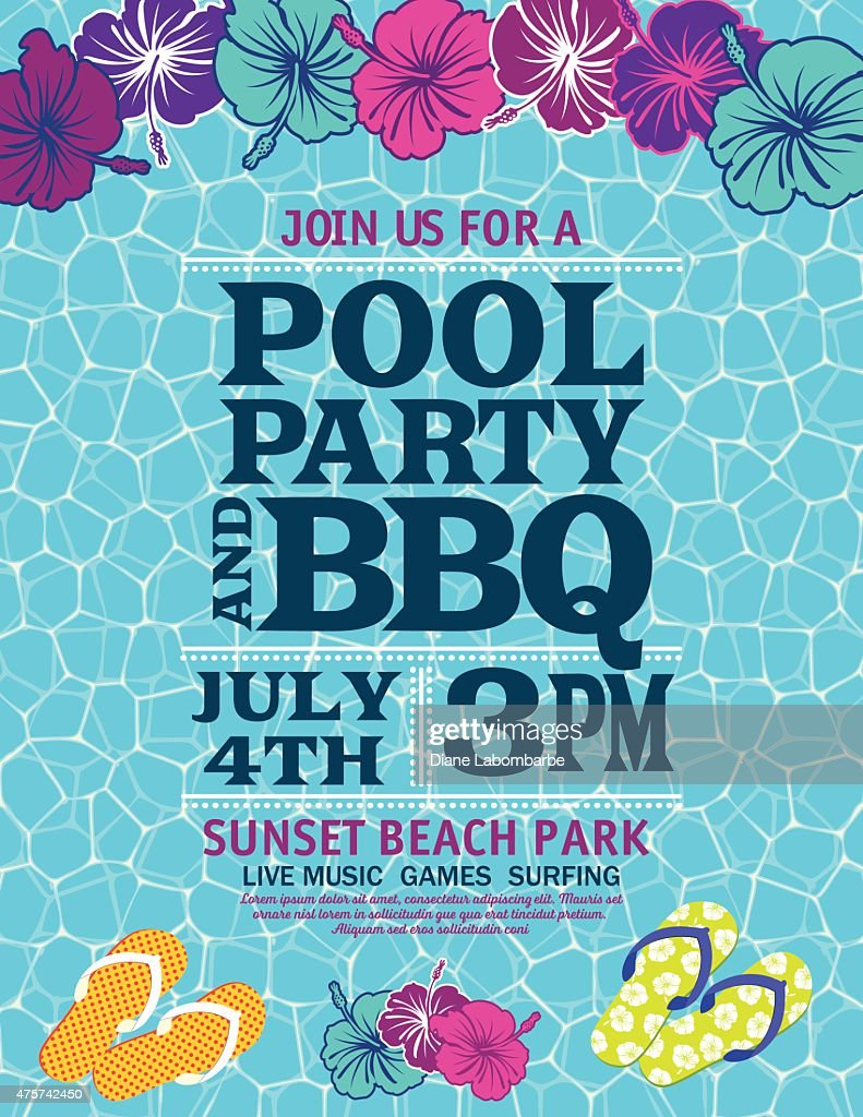Pool Party Invitation Template With Hibiscus Vector Art | Getty Images