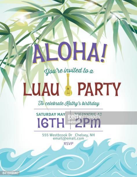 ilustraciones, imágenes clip art, dibujos animados e iconos de stock de plantilla de invitación fiesta de piscina con palmeras y olas - pool party