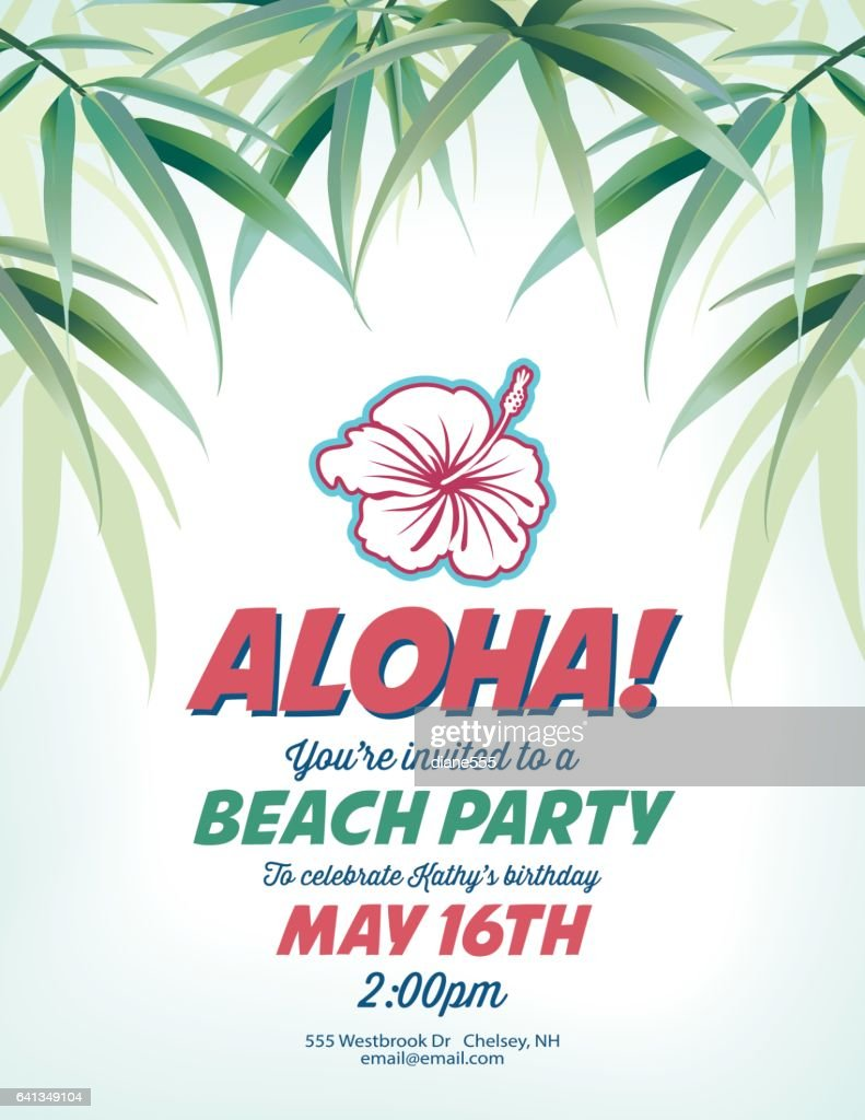 Pool Party Invitation Template With Palm Trees And Waves Vector ...