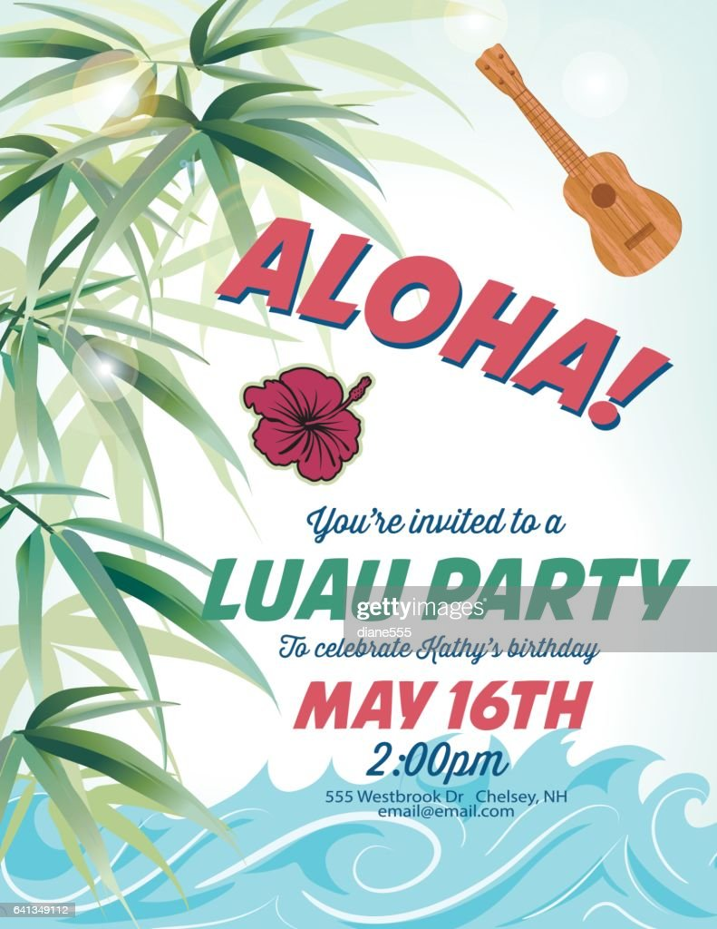 Pool Party Invitation Template With Palm Trees And Waves Vector Art ...
