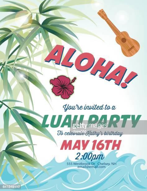ilustraciones, imágenes clip art, dibujos animados e iconos de stock de pool party invitation template with palm trees and waves - pool party