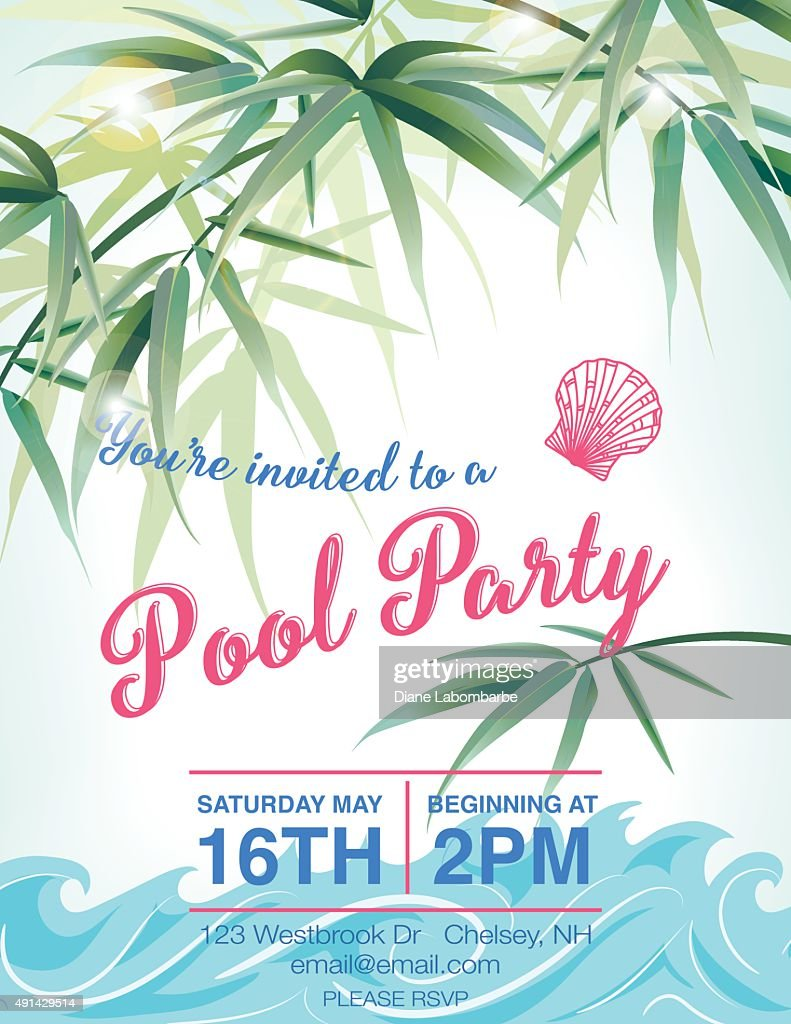 pool party invitation template with palm trees vector art getty images