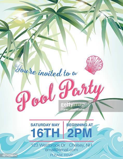 ilustraciones, imágenes clip art, dibujos animados e iconos de stock de fiesta junto a la piscina con palmeras plantilla de la invitación - pool party