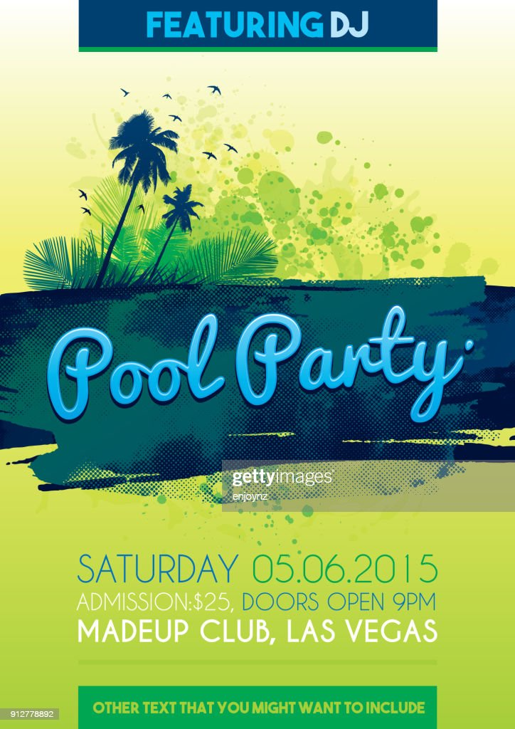 Pool Party Invitation Vector Art Getty Images