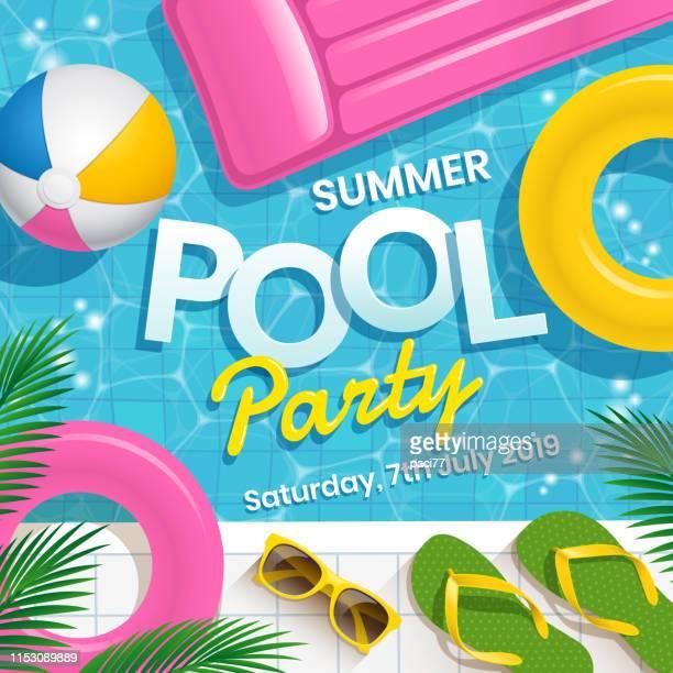 ilustraciones, imágenes clip art, dibujos animados e iconos de stock de ilustración de vector de invitación fiesta en piscina con fondo vectorial de piscina de agua. - pool party